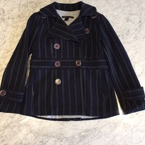 Marc Jacobs navy wool pea coat with stripes
